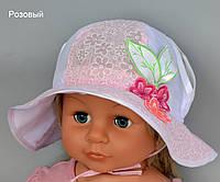 Детская летняя шапочка на девочкуПанамка Соня. р. 47-50. Белый, розовый