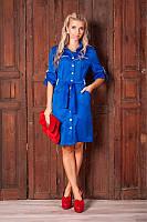 Модное летнее женское платье-халат с поясом 8007 | Высокое качество