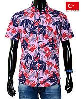 Рубашка-гавайка с ярким принтом.Ткань-тонкий хлопок.Лето.