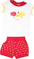 Белая футболка и красные шорты девочке,  р. 92 см
