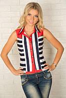 Летняя женская рубашка без рукавов 927 в полоску