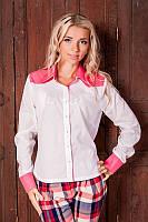 Повседневная женская рубашка 954 белого цвета Розовые вставки