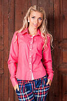 Модная молодежная женская рубашка с длинным рукавом 954-6 Коралл