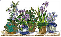 Набор для вышивки крестиком Цветы в горшках. Размер: 55,6*33 см