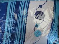 Двуспальный облегченный плед микрофибра - синие полосы