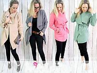 Пальто женское весенние под поясок пастельние цвета. Модная новинка