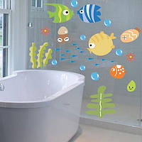 Наклейки на стены  в ванную набор рыбки