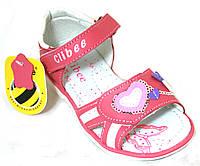 Детские кожаные босоножки для девочек c открытым носком Clibee Польша размеры 26-31