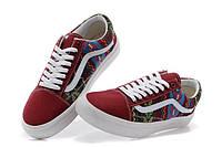 Кеды Vans Cherry цветные узоры бордовый носок