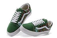 Кеды Vans Green цветные узоры зеленый носок