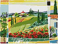 Набор для вышивки крестом Пейзаж с маками. Размер: 34*25,5 см