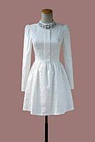 Белое платье женское с длинным рукавом миди М