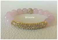 Браслет из натуральных камней розовый женский из розового кварца с бусиной Шамбала и BD2006