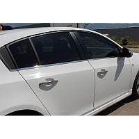 Молдинг стекла (оконтовка окна) Chevrolet Cruze sd (шевроле круз). Нерж.6 шт.
