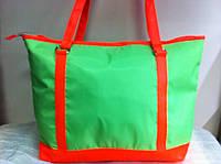 Яркая пляжная сумка  салатового цвета с  оранжевым