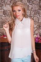 Шифоновая женская блуза-безрукавка с воротничком 953 Белая