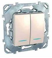 Переключатель двухклавишный С индикатором Слоновая кость Schneider Electric Unica (MGU5.0303.25NZD)