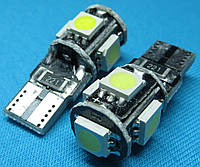 Светодиодные габаритные лампочки Т10 W5W 5 smd с обманкой