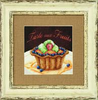 Набор для вышивания бисером на авторской канве «Фруктовое пирожное»