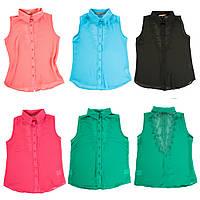 Шифоновая женская блуза-безрукавка с ажурной спинкой разние цвета