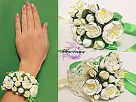 """""""Жасмин"""" браслет с цветами для невесты или свидетельницы. из полимерной глины"""