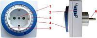 Суточный механический таймер-розетка, реле времени, таймер-реле включения/выключения на 220V, фото 1