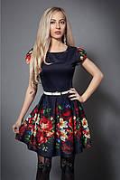 Модное принтированое в цветы женское платье