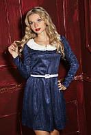 Нарядное женское платье с кружевным воротником 875 Синее