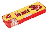 Пенал пластиковый Love Heart на магните с точилкой, 2 отделения