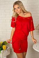 Молодежное женское платье-туника 867 Красное