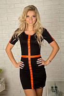 Женское черное мини-платье с кожаными вставками 869