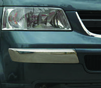 Накладка на передний бампер Volkswagen T5 (фольксваген т5), Брови, Углы, нерж.