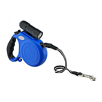 Поводок-рулетка со светодиод.фонариком (черн.,синий) (5м*40кг)