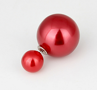 Серьги двойные шары перламутровые темно красные