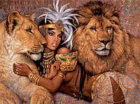 Картина для рисования камнями стразами Diamond painting Алмазная вышивка алмазами мозаика девушка со львами