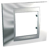 Рамка однопостовая 2-модульная хром/алюминий Schneider Electric Unica Top (MGU66.002.010)