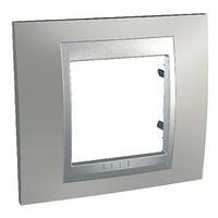 Рамка однопостовая 2-модульная матовый никель/алюминий Schneider Electric Unica Top (MGU66.002.039)