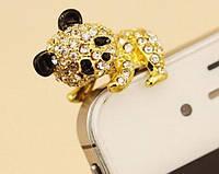 """Заглушка для iPhone 3,5 мм (стразы) """"ПАНДА"""". Цвет: золотой."""