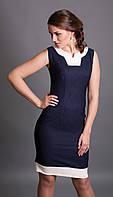 Летнее женское платье-футляр без рукава темно-синего цвета. Модель 527 Mirabelle, коллекция весна-лето 2015.
