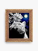 """Схема для вышивки бисером """"Кот с веточкой"""""""