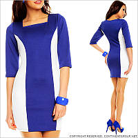 Синее платье с белыми вставками
