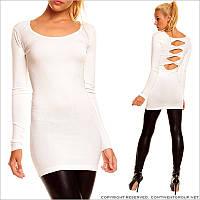Белое трикотажное платье-туника