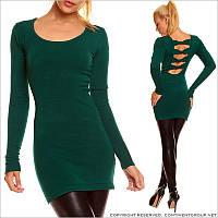 Зеленое трикотажное платье-туника