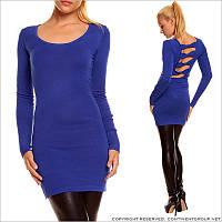Синее трикотажное платье-туника