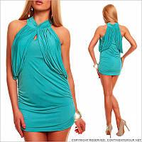 Коктейльное бирюзовое платье