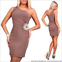 Бежевое платье в обтяжку