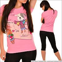 Розовая женская футболка с рисунком