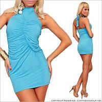 Коктейльное голубое платье по фигуре