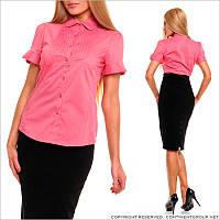Розовая блузка с воротником