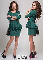 Платье с двойной баской ОР-29 цвет темно зеленый
